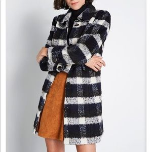 Plaid collared coat